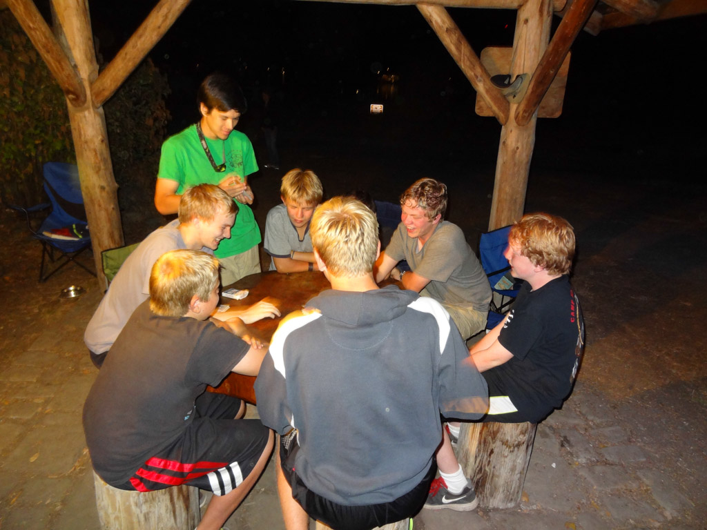 During the evenings, the scouts played games until well after dark.