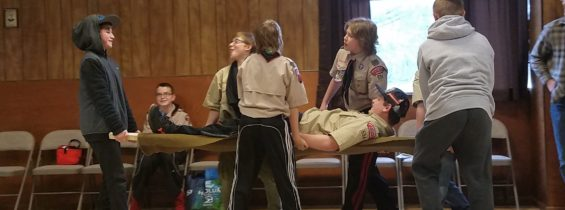 First Aid Merit Badge Day at the Grange, April 22